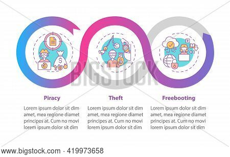 Copyright Violation Types Vector Infographic Template. Piracy, Theft Presentation Design Elements. D