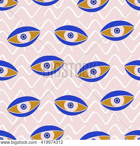 Aztec Evil Eyes Seamless Pattern In Blue Color