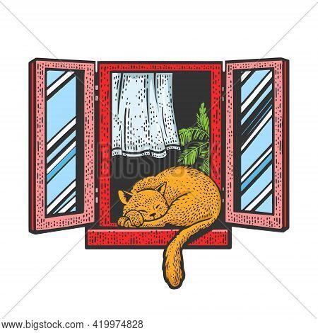 Cat Sleeps On Windowsill In Open Window Color Sketch Engraving Vector Illustration. T-shirt Apparel