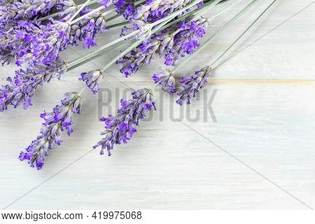 A Fresh Bouquet Of Blooming Lavender Flowers, Shot From The Top