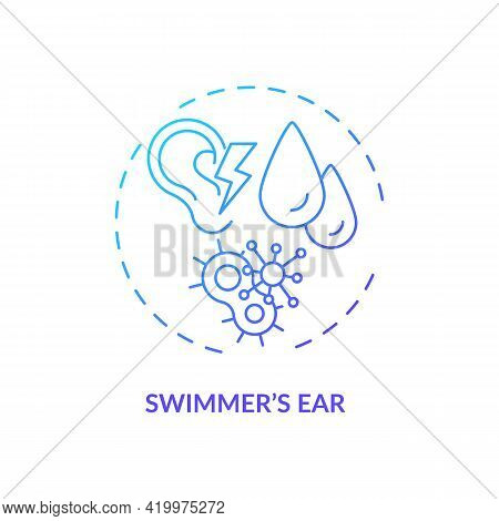 Swimmer Ear Concept Icon. Providing Moist Environment For Bacterial Growth Idea Thin Line Illustrati