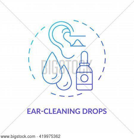 Ear-cleaning Drops Concept Icon. Ear Hygiene Method Idea Thin Line Illustration. Earwax, Debris Soft