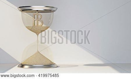 Baht Currency Symbol Concept Flowing Away In Hourglass. 3d Rendering