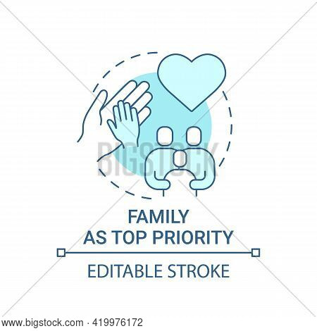 Family As Top Priority Concept Icon. Personal Value Idea Thin Line Illustration. Parents, Siblings.
