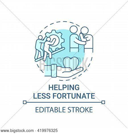 Helping Less Fortunate Concept Icon. Corporate Value Idea Thin Line Illustration. Teamwork, Collabor