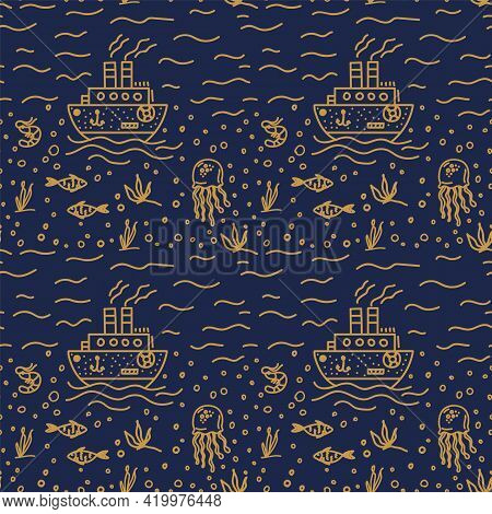 Vector Background Of Marine Life. Doodle Pattern Of Marine, Oceanic Life. Underwater World For Texti