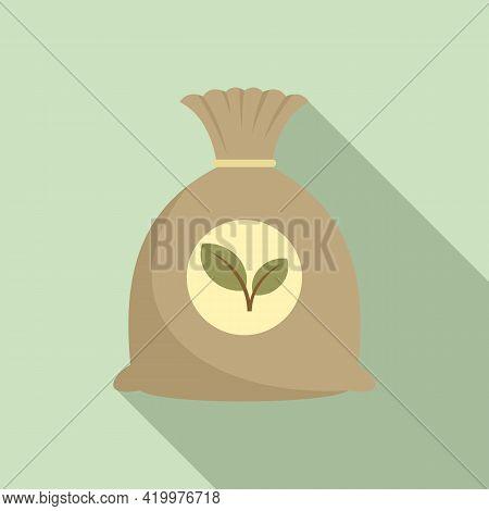 Fertilizer Sack Icon. Flat Illustration Of Fertilizer Sack Vector Icon For Web Design