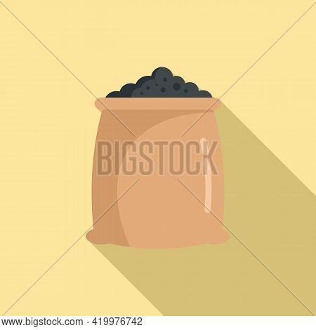 Fertilizer Soil Sack Icon. Flat Illustration Of Fertilizer Soil Sack Vector Icon For Web Design