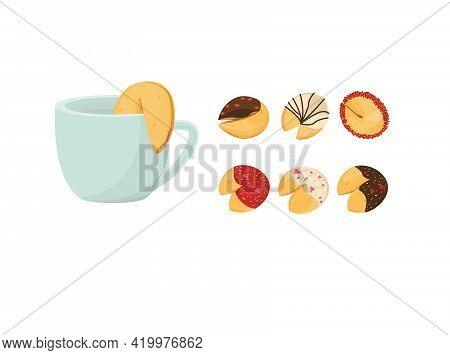 Chinese Fortune Cookies On A White Background. Set Cartoon. Mug With Cookies. Pink, Red, Chocolate.