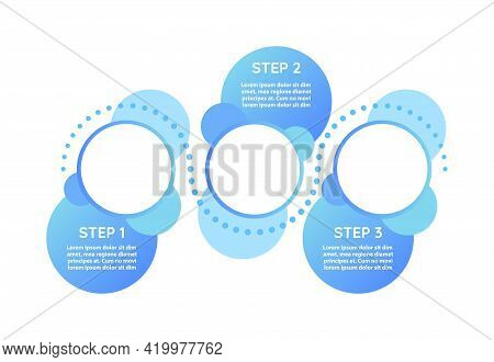 Schedule Stages Vector Infographic Template. Round Blue Presentation Design Elements With Text Space