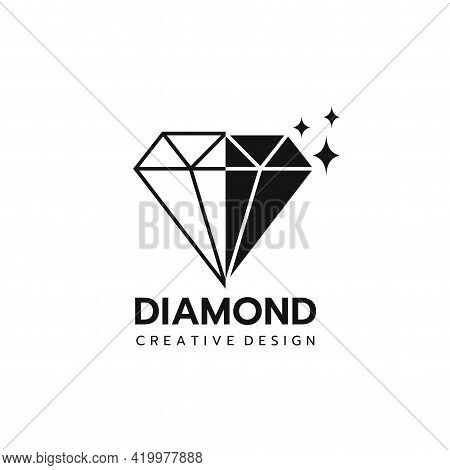 Beautiful Diamond Jewelry Logo Template, Stylized Image Of Diamond Logo Icon, Diamond Tattoo,diamond