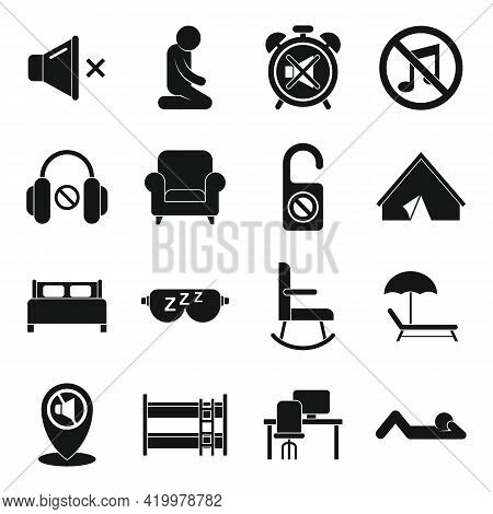 Quiet Spaces Icons Set. Simple Set Of Quiet Spaces Vector Icons For Web Design On White Background
