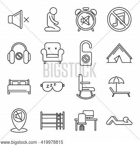 Summer Quiet Spaces Icons Set. Outline Set Of Summer Quiet Spaces Vector Icons For Web Design Isolat