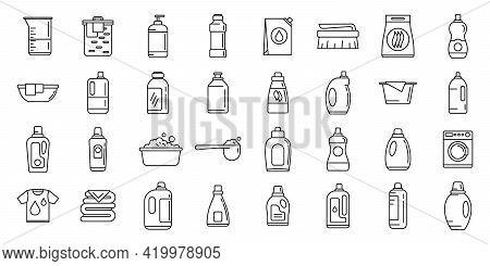 Wash Softener Icons Set. Outline Set Of Wash Softener Vector Icons For Web Design Isolated On White