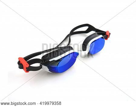Aerial View Of Blue Goggles For Swimming. Professional Swimming Goggles With Blue Mirror Lenses Isol