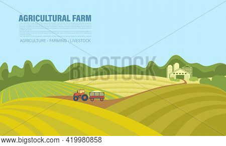 Agricultural Background With Tractor On Field, Landscape, Farm. Tractor With Trailer Carries The Har