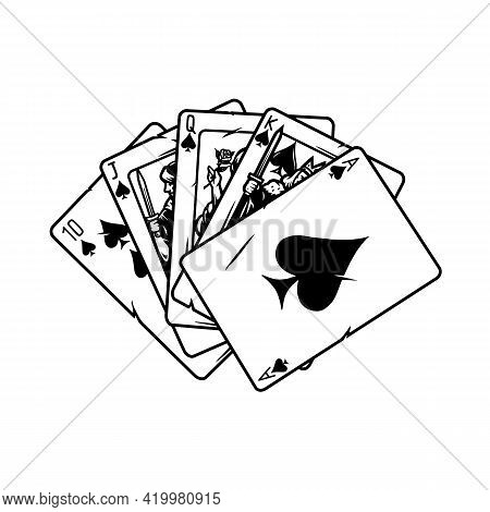 Royal Flush Poker Hand Concept In Vintage Monochrome Style Isolated Vector Illustration
