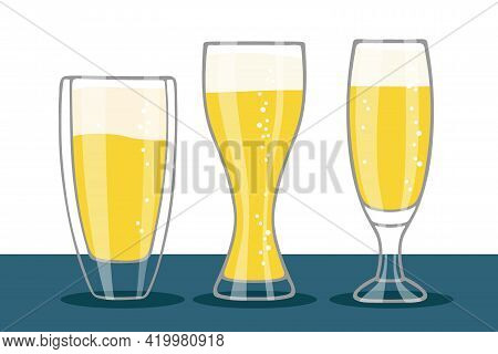 Set Of Beer Glasses Isolated On Table. Three Different Forms Glasses Of Beer With Foam And Bubbles.