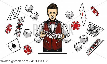 Casino Vintage Colorful Concept With Smiling Croupier Shuffles Playing Cards Falling Dice Poker Chip