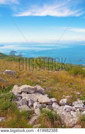 National Park Lake Skadar.  Montenegro. Coast Of Skadar Lake With Small Islets, Beautiful Summer Lan