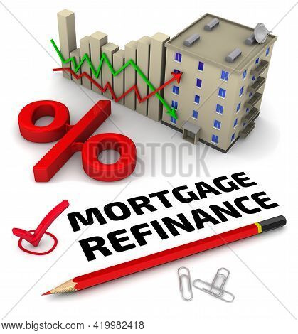 Mortgage Refinance. One Red Check Mark With Black Text Mortgage Refinance, A Chart Changes In Intere