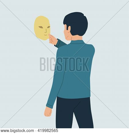Vector Illustration Of A Person Who Hides His Identity. A Mysterious Young Man Holds A Theater Mask