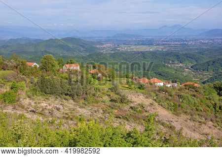 Beautiful Panoramic Mountain Landscape With Small Village On Sunny Spring Day.  Montenegro, Ulcinj M