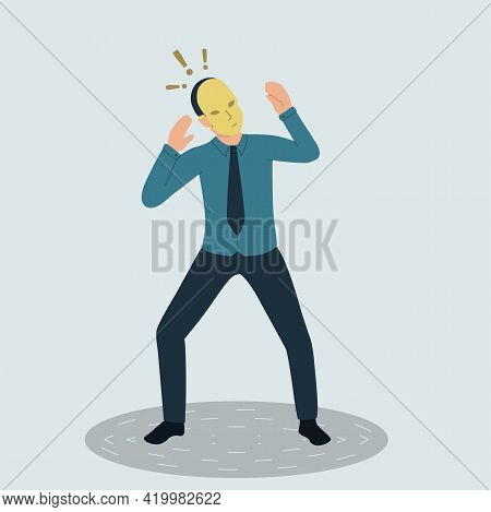 Vector Illustration Of A Frightened Businessman In A Theatrical Mask. The Mysterious Man Hides His I