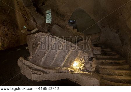 The Ruined Staircase In The Economic Cave - Columbarium - A Dovecote Near The Excavations Of The Anc