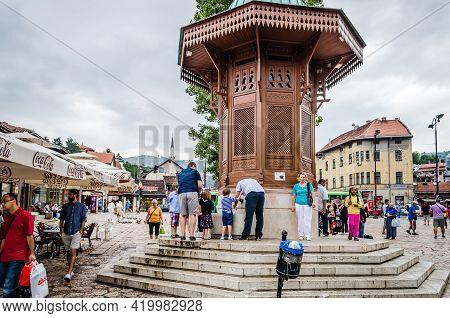 Sarajevo, Bosnia, August 17, -  Bosnia And Herzegovina, 2014:  Bascarsija, Sarajevo\\\'s Old Bazaar