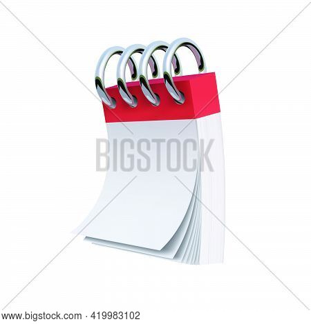 Blank Notebook With Blank Sheets In An Upright Position. Vector Graphics
