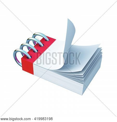 Blank Notebook With Blank Sheets In A Horizontal Position. Vector Graphics