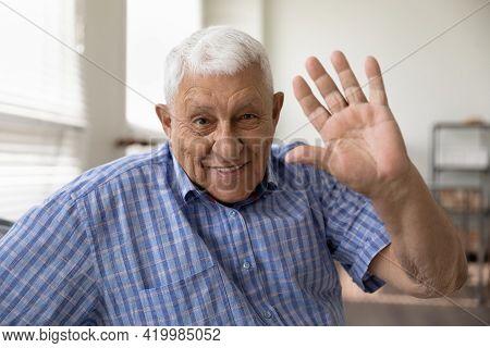 Happy Smiling Elderly Man Looking At Camera Waving Hand Hi