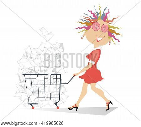 Cartoon Young Woman With A Trolley Full Of Papers Illustration. Cheerfulness Woman In Sunglasses Pul