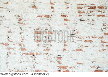 Old Chipped White Brick Wall Texture Background. Vintage Wide Old Red White Brick Wall Texture Backg