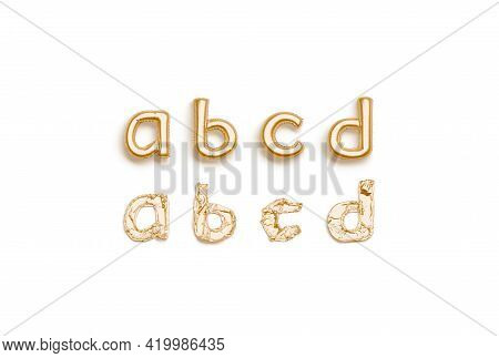 Inflated, Deflated Gold A B C D Letters, Balloon Font, 3d Rendering. Decorative Sign With Bubble Let