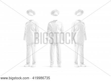 Blank White Chef Uniform Mockup, Front And Side View, 3d Rendering. Empty Protect Costume With Jacke