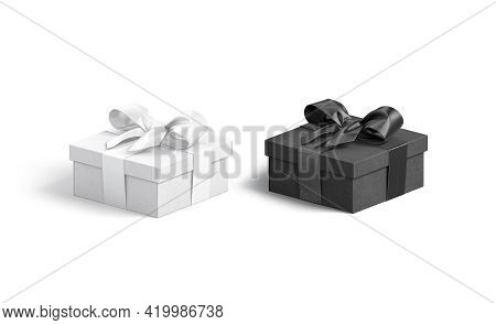 Blank Black And White Gift Box With Ribbon Bow Mockup, 3d Rendering. Empty Handmade Cardboard Case F