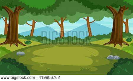 Cartoon Forest Background, Nature Landscape With Deciduous Trees, Green Grass, Bushes. Scenery View,