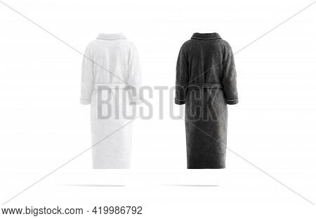 Blank Black And White Hotel Bathrobe Mockup, Back View, 3d Rendering. Empty Fluffy Dressing Gown Moc