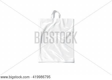 Blank White Loop Handle Plastic Bag Mockup, Top View, 3d Rendering. Empty Polyethylene Carrier Packe