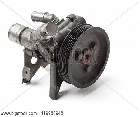 Engine Attachments - Power Steering, A Pump That Pumps Oil To The Steering Rack To Facilitate Steeri