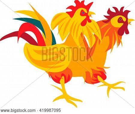 Yellow Red Agressive Cock With Two Heads