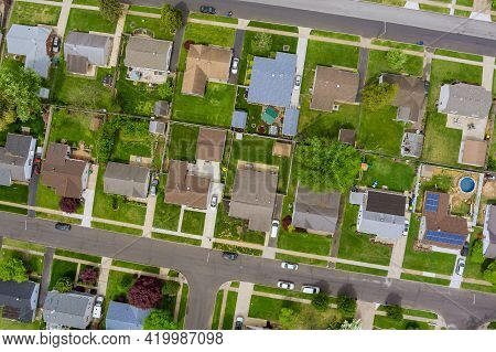 Panoramic View Of A Neighborhood In Roofs Of Houses Of Residential Area Summer Houses