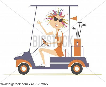 Young Golfer Woman Ride On The Golf Cart Car Illustration. Smiling Pretty Young Woman In Sunglasses