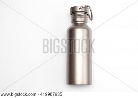 Titanium Hydration Bottle On White Background. Eco Friendly Concept.