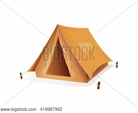 Tourist Camping Tent, Campsite Sport Equipment. 3d Style Vector Illustration Of Tent For Tourism And