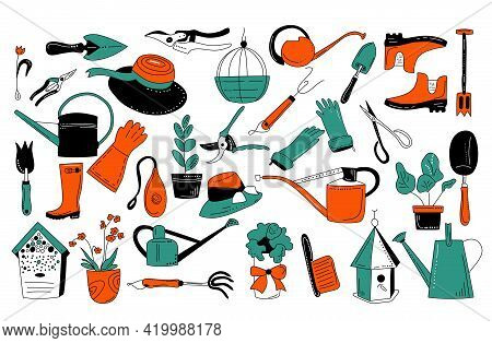 Gardening Equipment And Tools In Doodle Style. Hand Drawn Set For Planting And Seedling.eco Hobby.il
