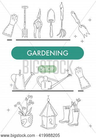 Gardening Shop Banner In Doodle Style.tools For Planting,digging And Seedling.equipment For Growing