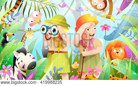 Girl And Boy Scout Kids In African Jungle Adventure, Little Explorers Hiking Expedition In The Fores